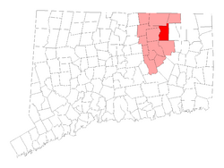 Location within Tolland County, Connecticut