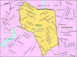 Census Bureau map of Milltown, New Jersey