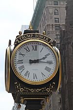 Clock in front of the Trump Tower