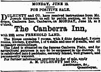Sale notice Canberra Inn 1887