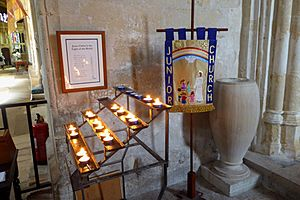 Candles and Children's Banner at Christchurch Priory