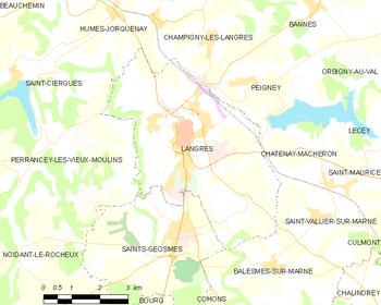 Map of the commune of Langres