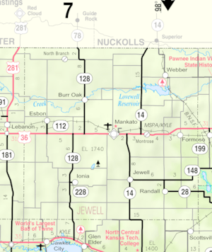 Map of Jewell Co, Ks, USA