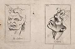 A frontal outline and a profile of faces expressing anger. E Wellcome V0009398