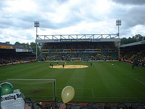 Carrow Road - fans holding yellow or green fliers