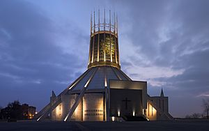 Liverpool Metropolitan Cathedral at dusk (reduced grain), corrected perspective.jpg