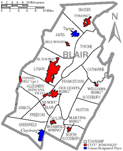 Map of Blair County Pennsylvania With Municipal and Township Labels