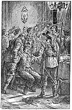 11 Malcolm overpowered by treachery at the banquet-Illust by Johan Schonberg for Lion of the North by G A Henty