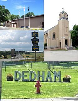 Clockwise from top: Dedham Centenial Center, St. Joseph's Catholic Church, DEDHAM Sign at the City Park, Highway 141 looking east toward Dedham