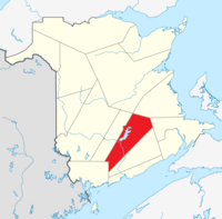 Map of New Brunswick highlighting Queens County