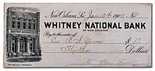Whitney Bank New Orleans Check 1905