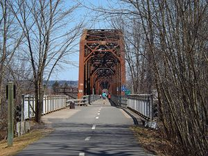 Bill Thorpe Walking Bridge, former railway bridge, on the Saint John River