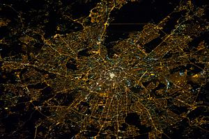 ISS-38 Nighttime image of Moscow, Russia