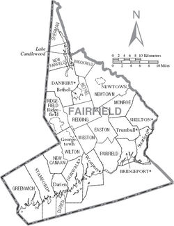 Map of Fairfield County Connecticut With Municipal Labels