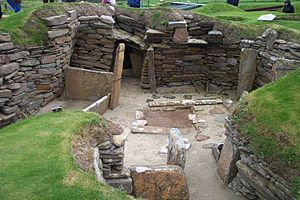 Excavated dwellings at Skara Brae, Europe's most complete Neolithic village.