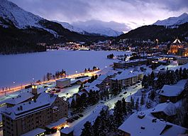 St. Moritz on an evening in February 2009, with a frozen lake