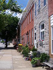 Traditional rowhouses, Locust Point, Baltimore (100 0509)