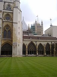 Westminster Abbey cloisters looking towards the Houses of Parliament