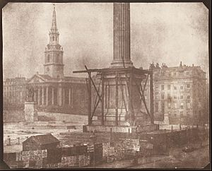 William Henry Fox Talbot - The Nelson Column in Trafalgar Sqaure under Construction - Google Art Project