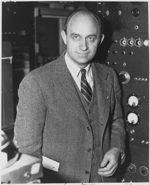 Enrico Fermi, Italian-American physicist, received the 1938 Nobel Prize in physics for identifying new elements and disc - NARA - 558578