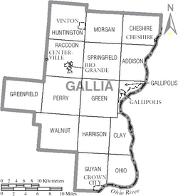 Map of Gallia County Ohio With Municipal and Township Labels