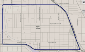 Map of Valley Village, Los Angeles, California