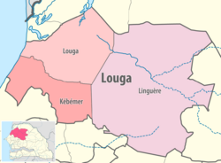 Map of the departments of the Louga region of Senegal