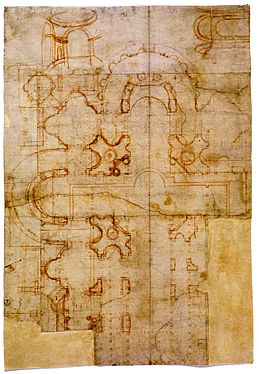 Sheet with Bramante's first plans