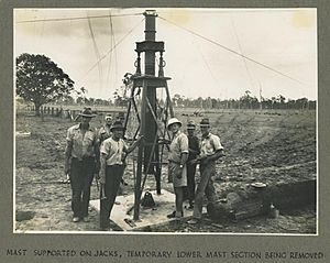 StateLibQld 1 259723 Preliminary supports for the new radio transmitter mast at Bald Hills, 1942
