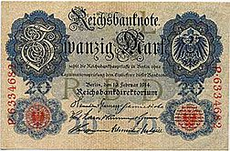 German 20 mark banknote from 1914