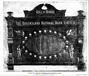 Roll of Honour, Queensland National Bank, Brisbane, August 1920