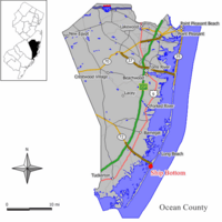Map of Ship Bottom in Ocean County. Inset: Location of Ocean County highlighted in the State of New Jersey.