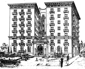 Sketch of proposed apartment building at West Sixth and Lake Streets, Los Angeles, 1915