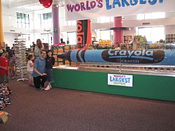 "The ""world's largest crayon"" was made from 123,000 used or broken blue crayons donated by people from around the world. This became the record holder until 2017, when Crayola has made a larger crayon using the new color, ""bluetiful"""