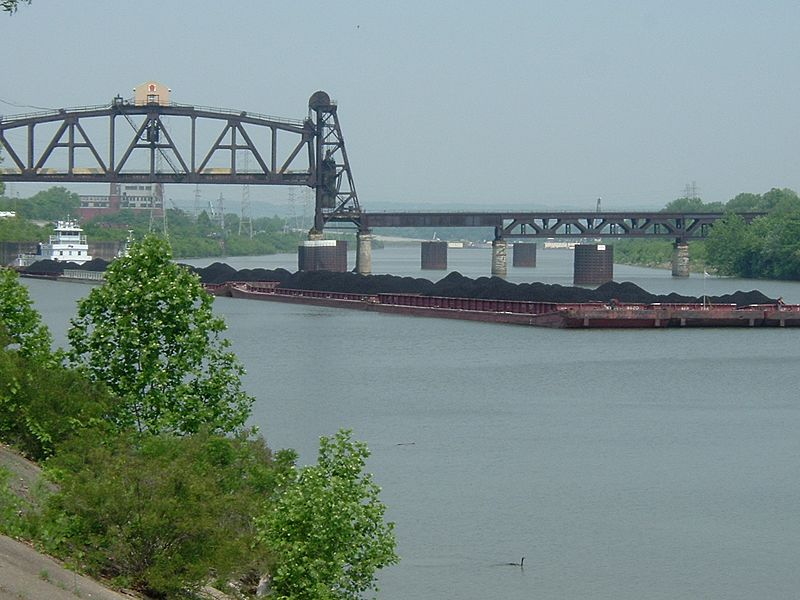 Barge hauling coal, Louisville and Portland Canal
