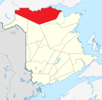 Map of New Brunswick highlighting Restigouche County