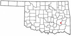 Location of Hartshorne, Oklahoma