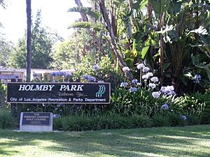 Sign of Holmby Park, Holmby Hills, Los Angeles, California.