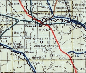 Stouffer's Railroad Map of Kansas 1915-1918 Cloud County
