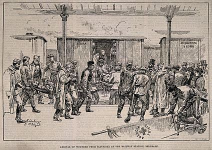 Arrival of wounded at Belgrade by JN Schonberg - Courtesy of the Wellcome Collection