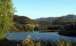 Lake Sherwood and the Santa Monica Mountains.