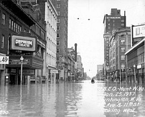 Looking west on Fourth Avenue during the 1937 Flood