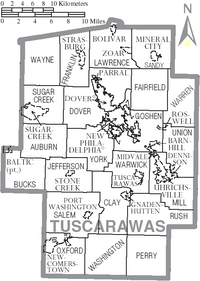 Map of Tuscarawas County Ohio With Municipal and Township Labels