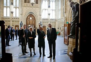 Barack Obama in the Members' Lobby of the Palace of Westminster, 2011