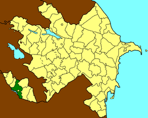 Map of Azerbaijan showing Babek Raion