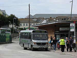 Newquay bus station Western Greyhound 599
