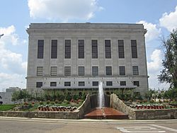 Texarkana federal building, including the post office and courthouse, straddling the Texas-Arkansas state line