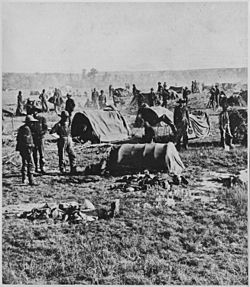 """Gen. Crook's headquarters in the field at Whitewood (Dak. Terr.). On starvation march 1876."" Closeup of a camp scene sh - NARA - 533170"