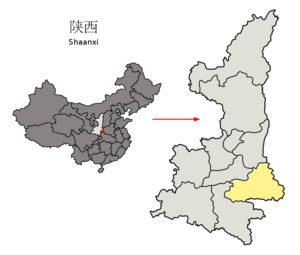 Location of Shangluo Prefecture within Shaanxi (China)