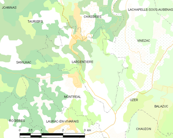 Map of the commune of Largentière